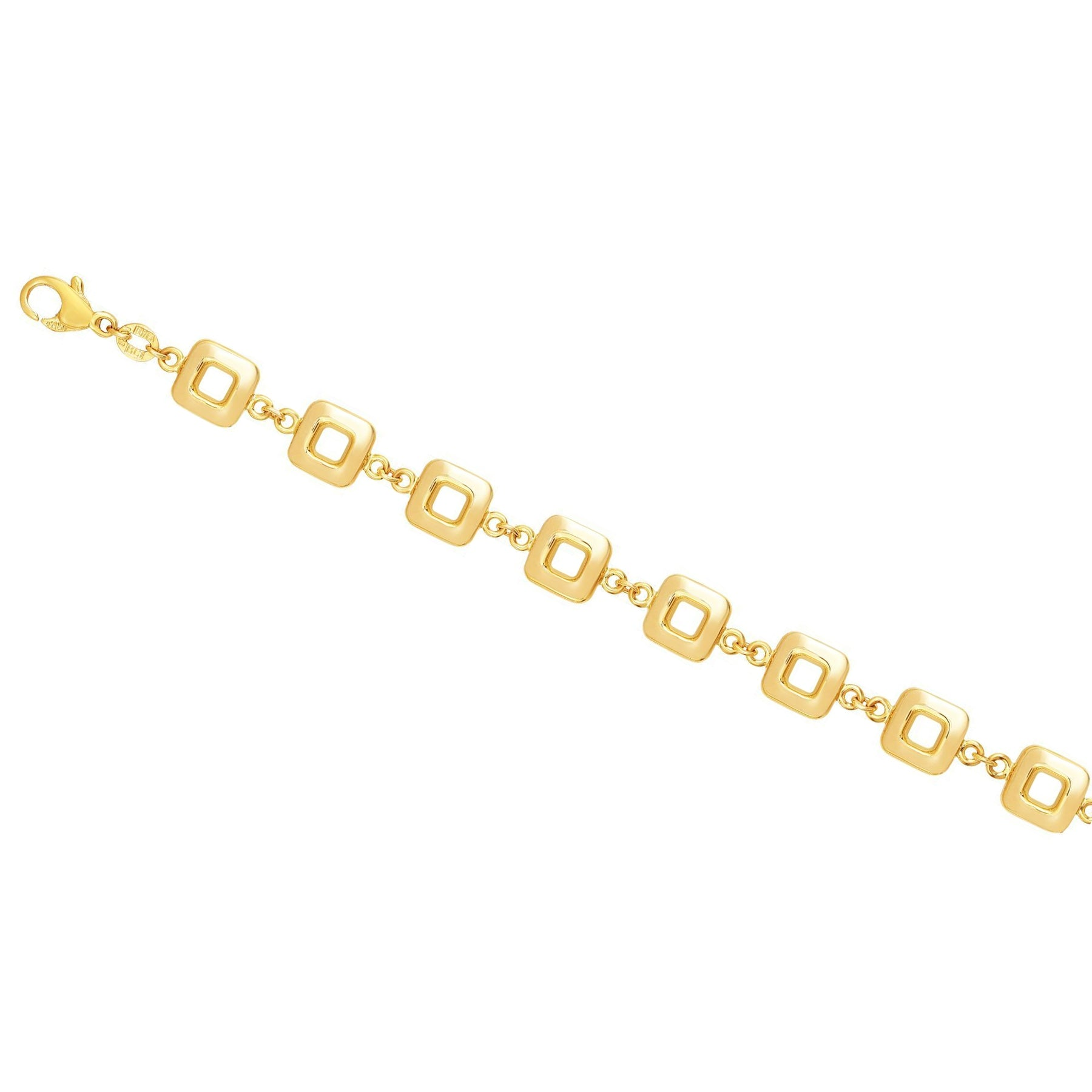 Polished Flexible Square Link Bracelet, 14K Yellow Gold