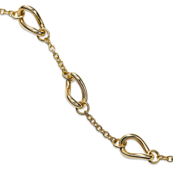 Alternating Link and Chain Bracelet, 14K Yellow Gold
