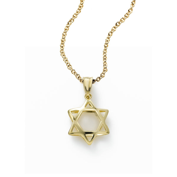 Star of David Silhouette Pendant, 14K Yellow Gold