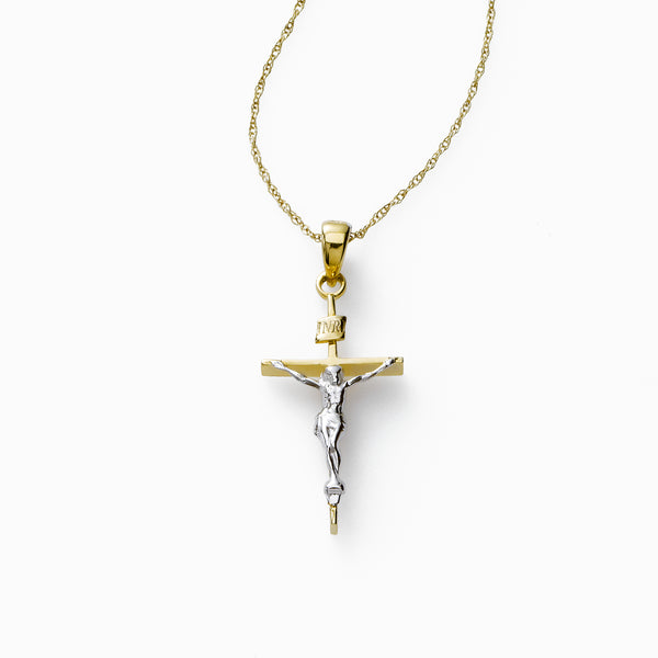 Crucifix Cross Charm, 14K