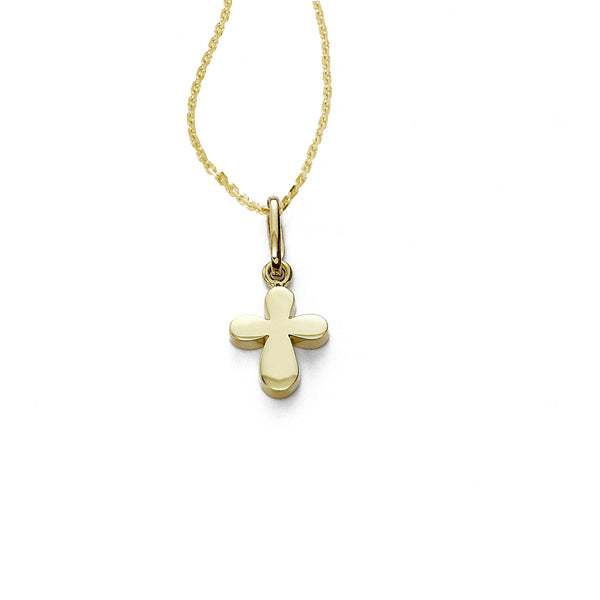 Raised Small Gold Cross Charm, 14K Yellow Gold