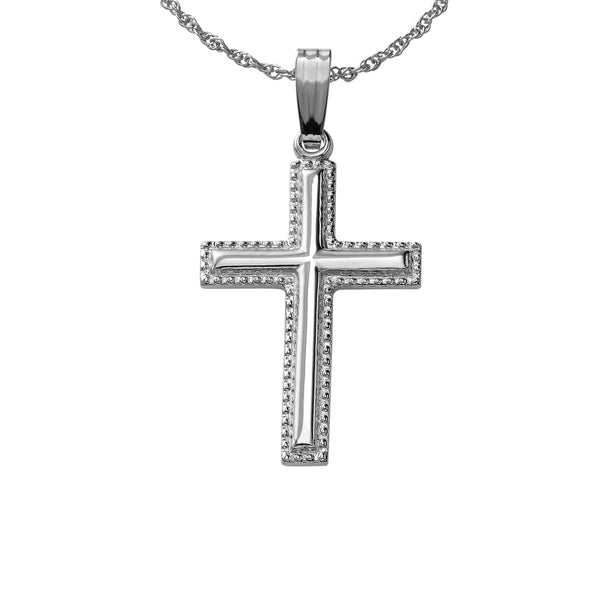 Beaded Cross, One Inch, 14K White Gold