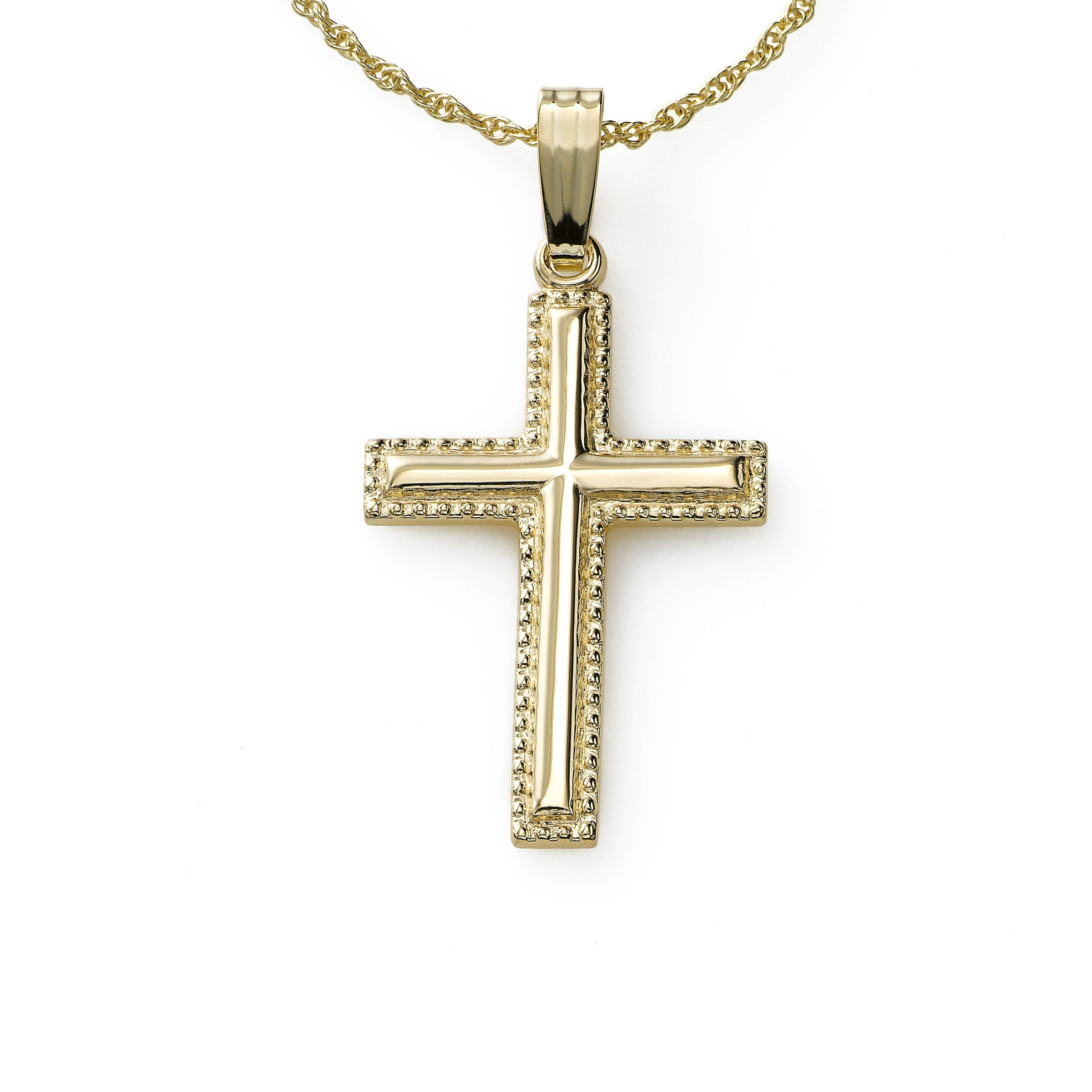 Lightweight Beaded Cross on Chain, One Inch, 14K Yellow Gold