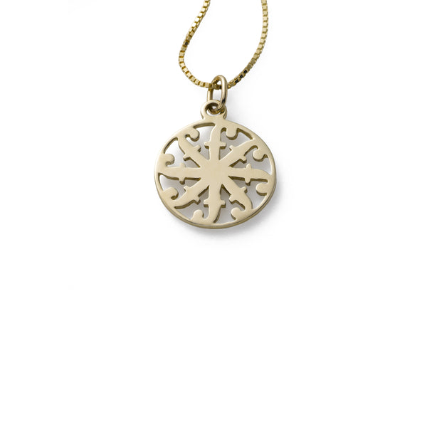 Medium Friendship is Forever Disc Pendant, 16 Inch Chain, 14K Yellow Gold