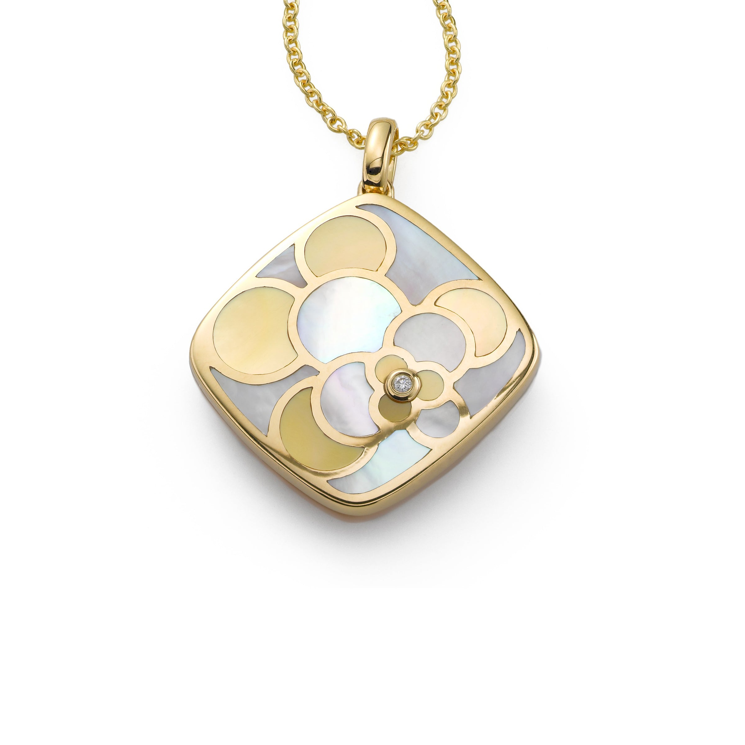 Yellow and White Mother of Pearl Pendant, 18K Yellow Gold