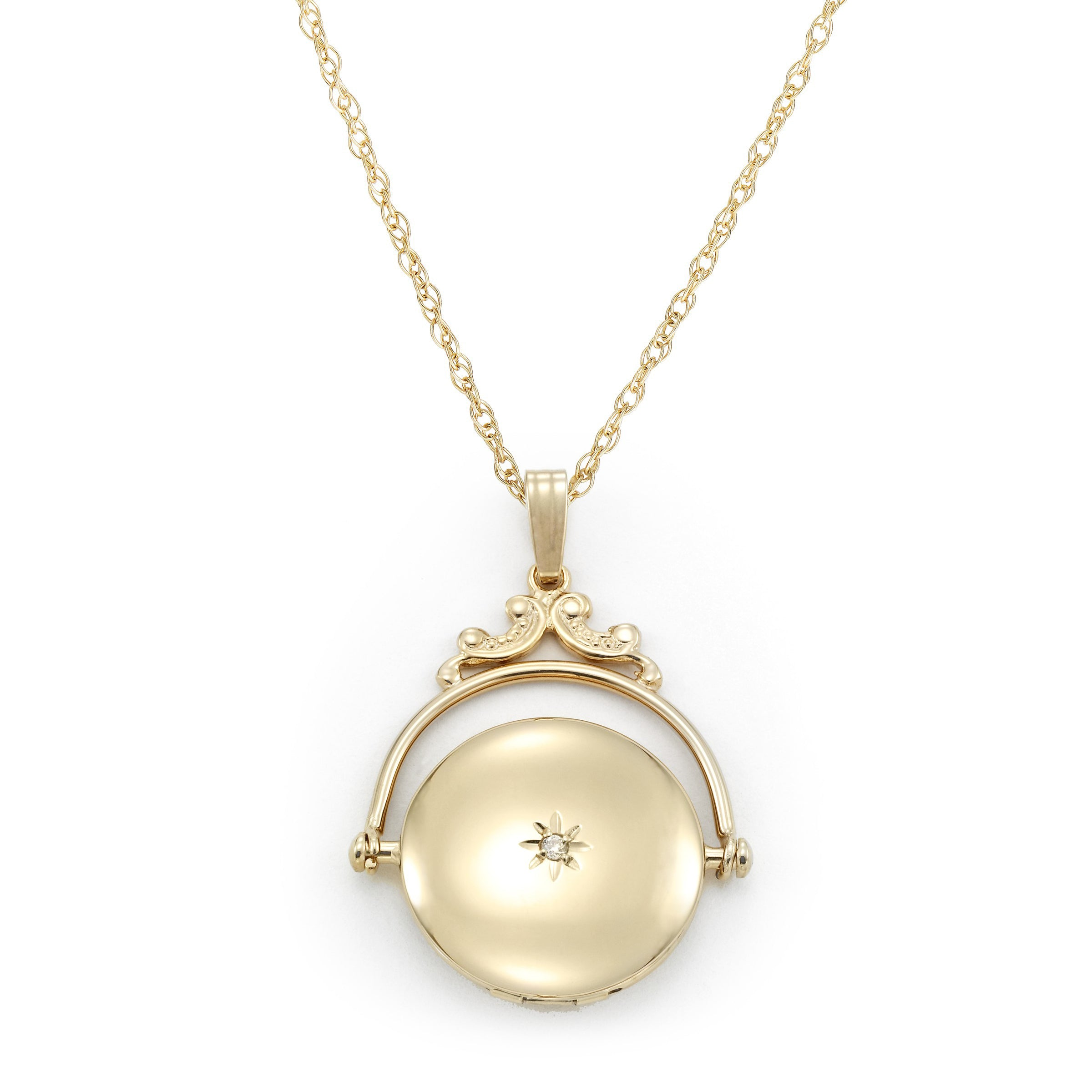 Victorian Spinning Style Locket, 14 Karat Yellow Gold