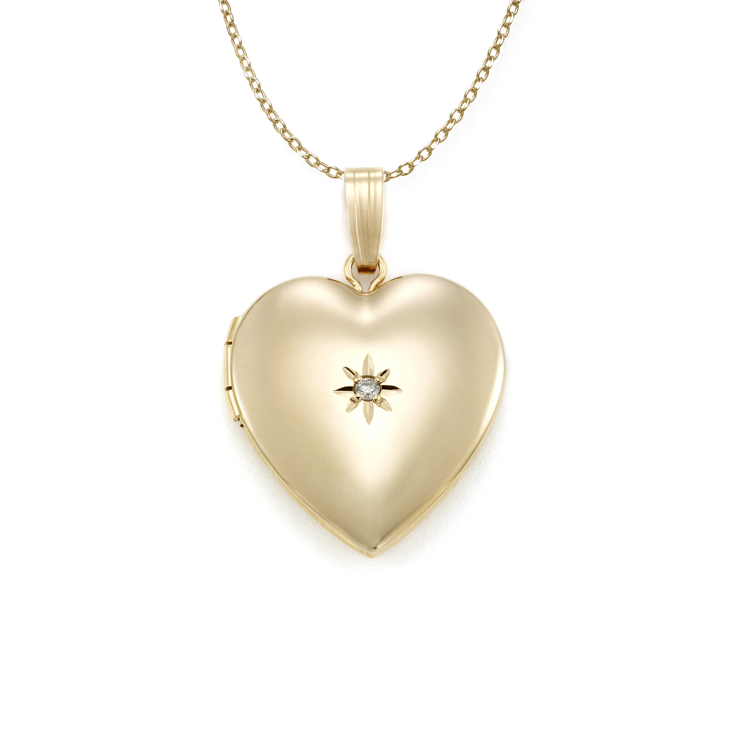 Heart Shaped Locket, Diamond Accent, 14 Karat Yellow Gold