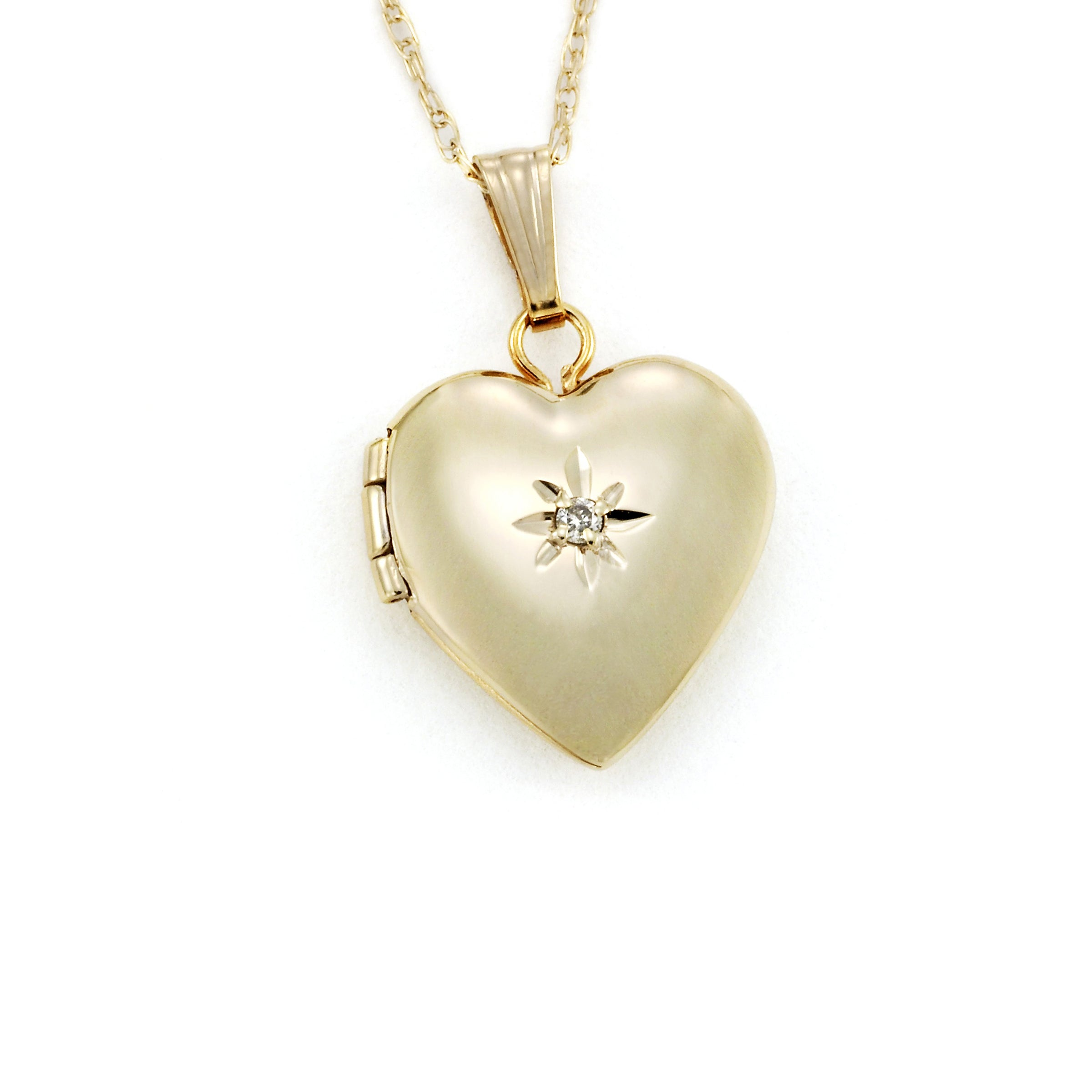 Girls Heart Locket, Diamond Accent, 14 Karat Yellow Gold