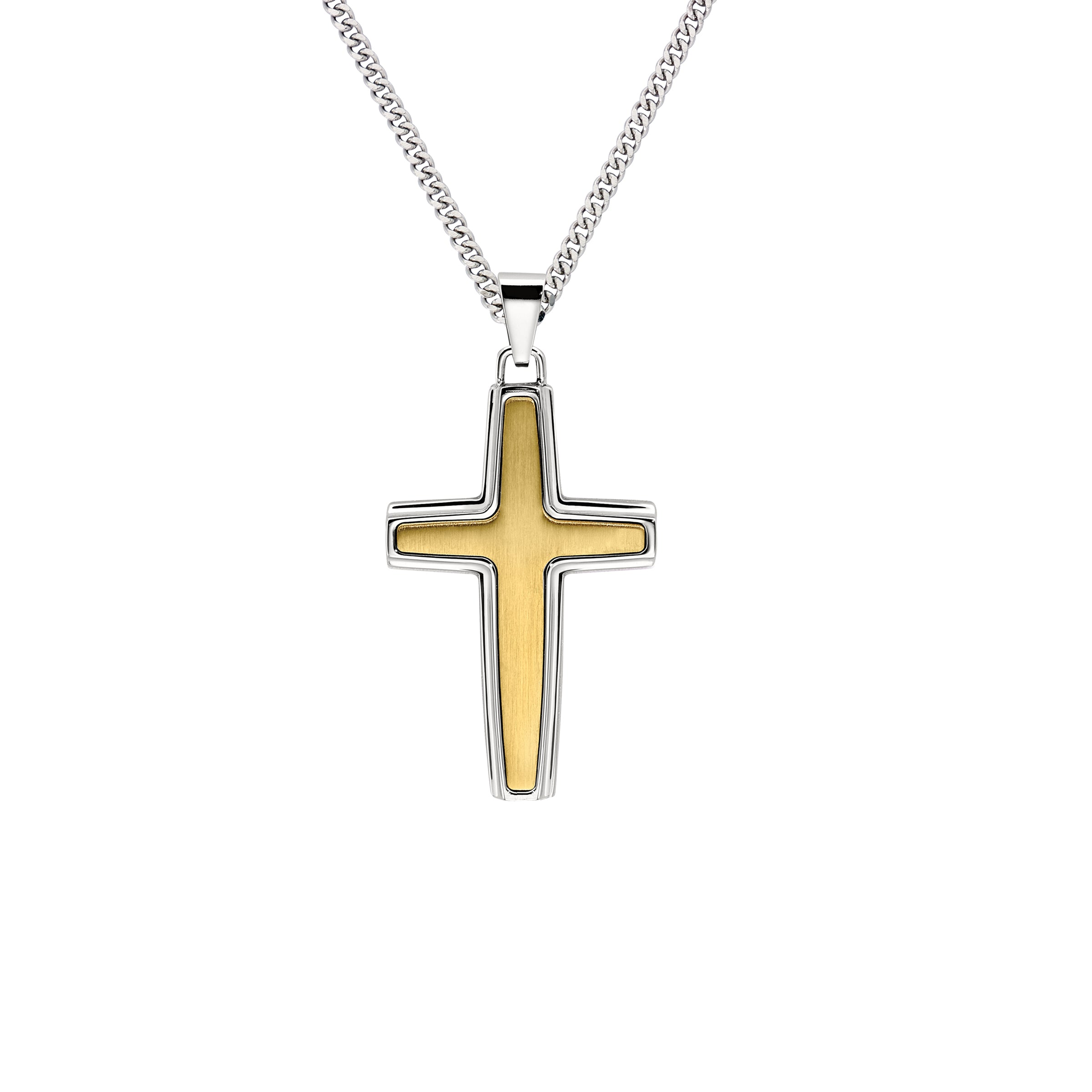 Gold Tone Cross Pendant, Stainless Steel