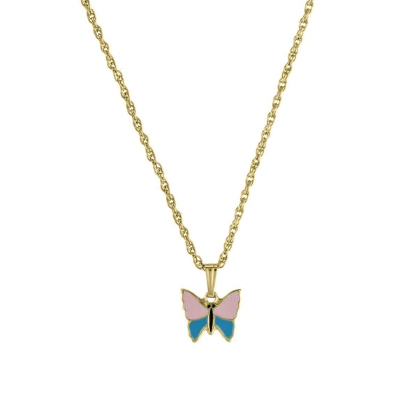 Child's Pink and Blue Butterfly Pendant, 14K Yellow Gold