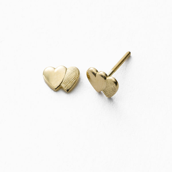 Baby's Yellow Gold Double Heart Stud, Safety Post Back, 14K