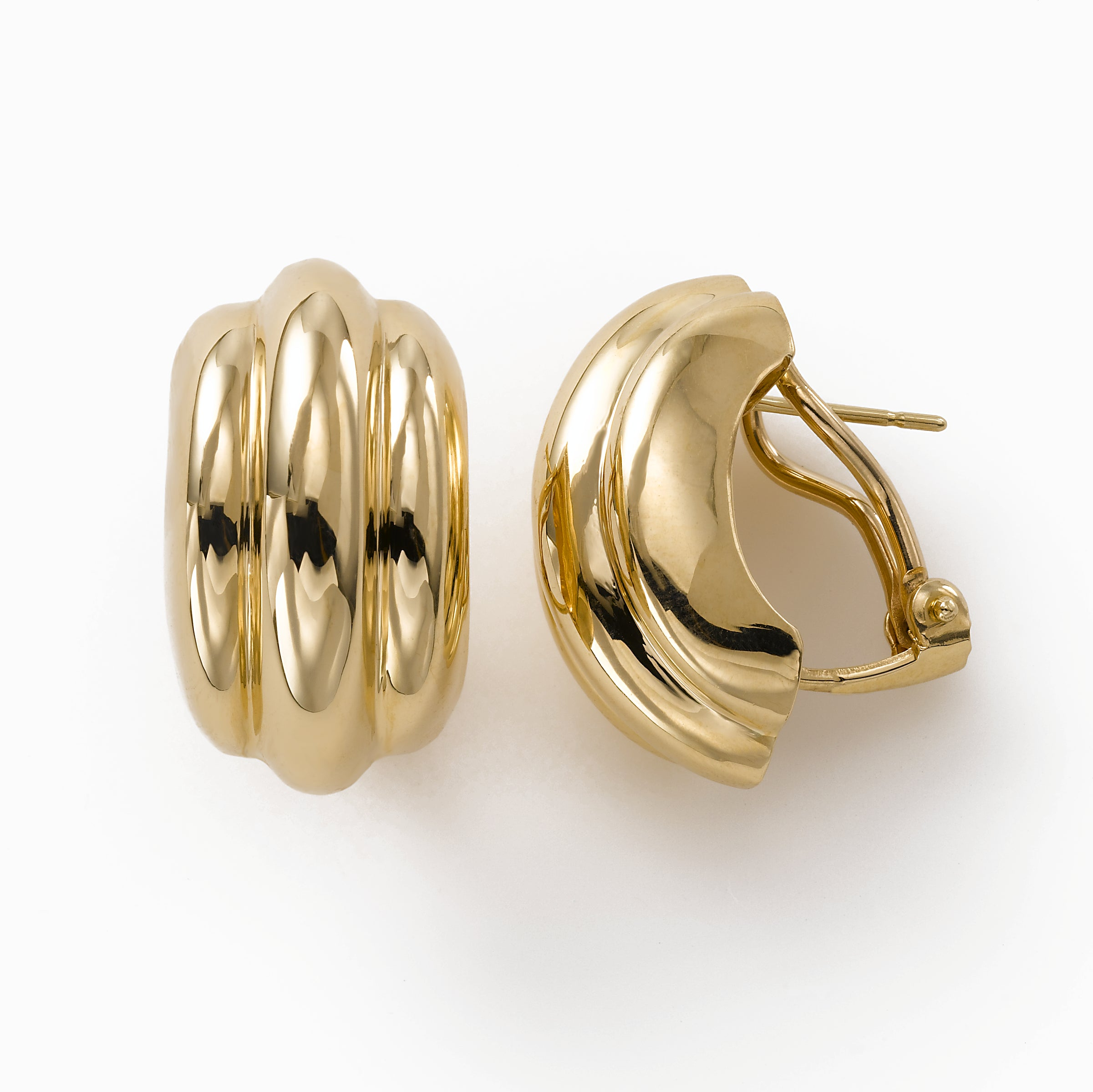 Puffed Ribbed Button Earring with Clip Post, 14K Yellow Gold