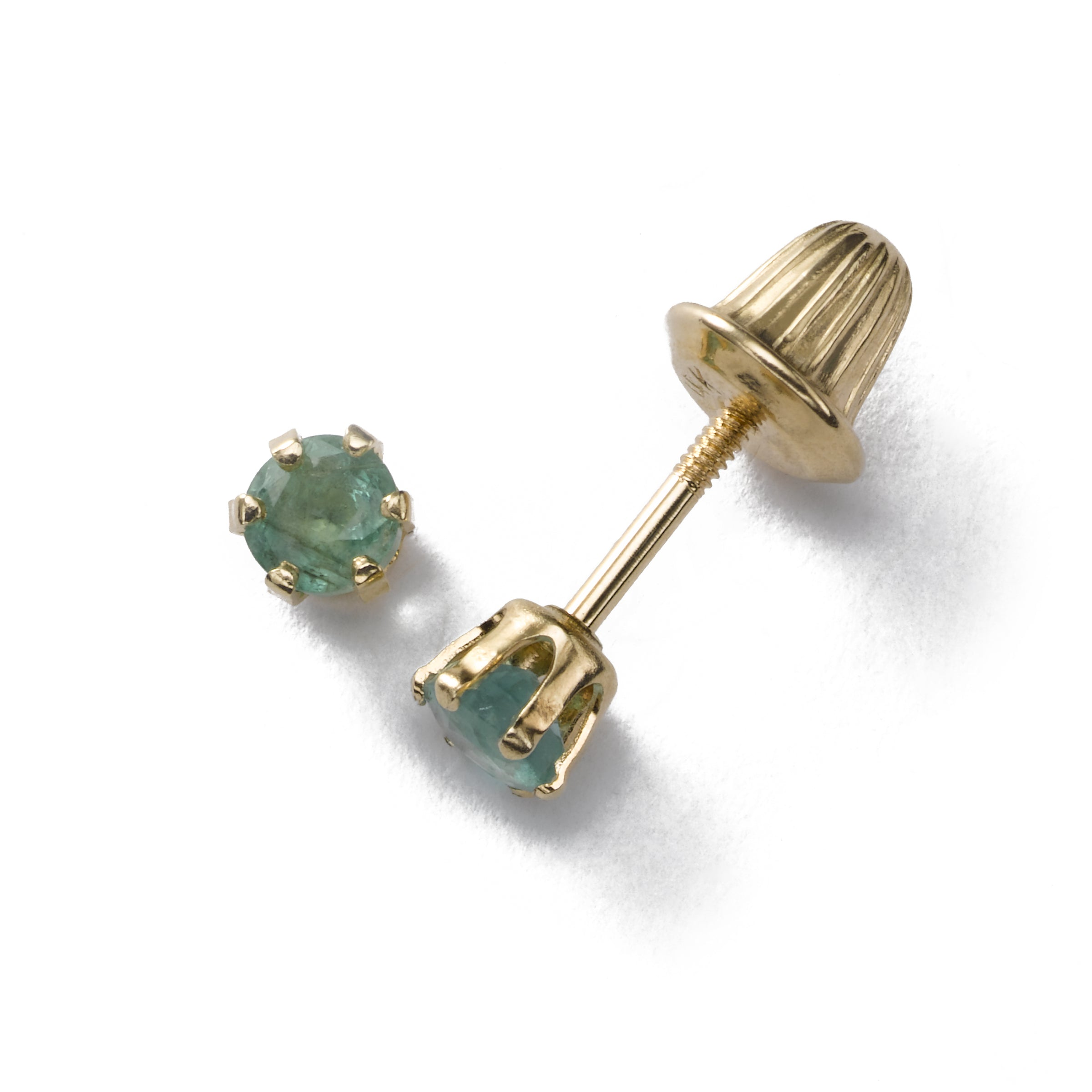 Baby's 3MM Emerald, Birthstone Stud, 14K
