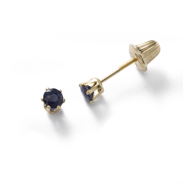Baby Sapphire September Birthstone Earrings, 14K Yellow Gold
