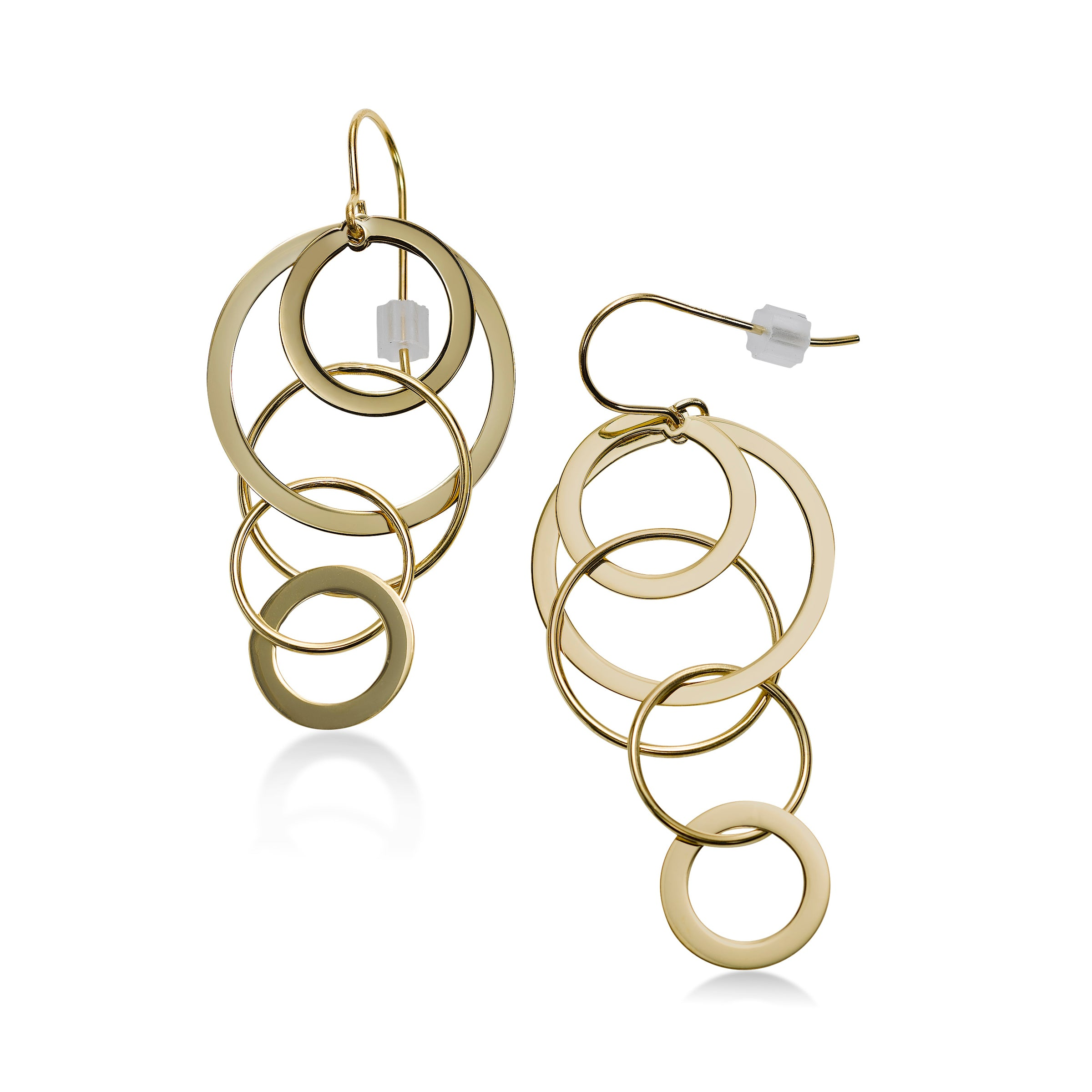 Cascading Circle Earrings, 14K Yellow Gold