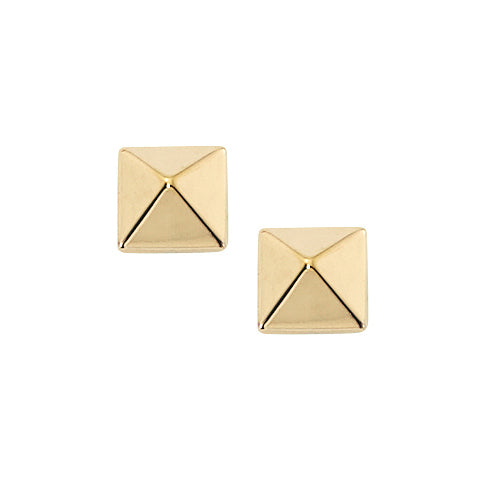 Pyramid Shape Button Earrings, 14K Yellow Gold