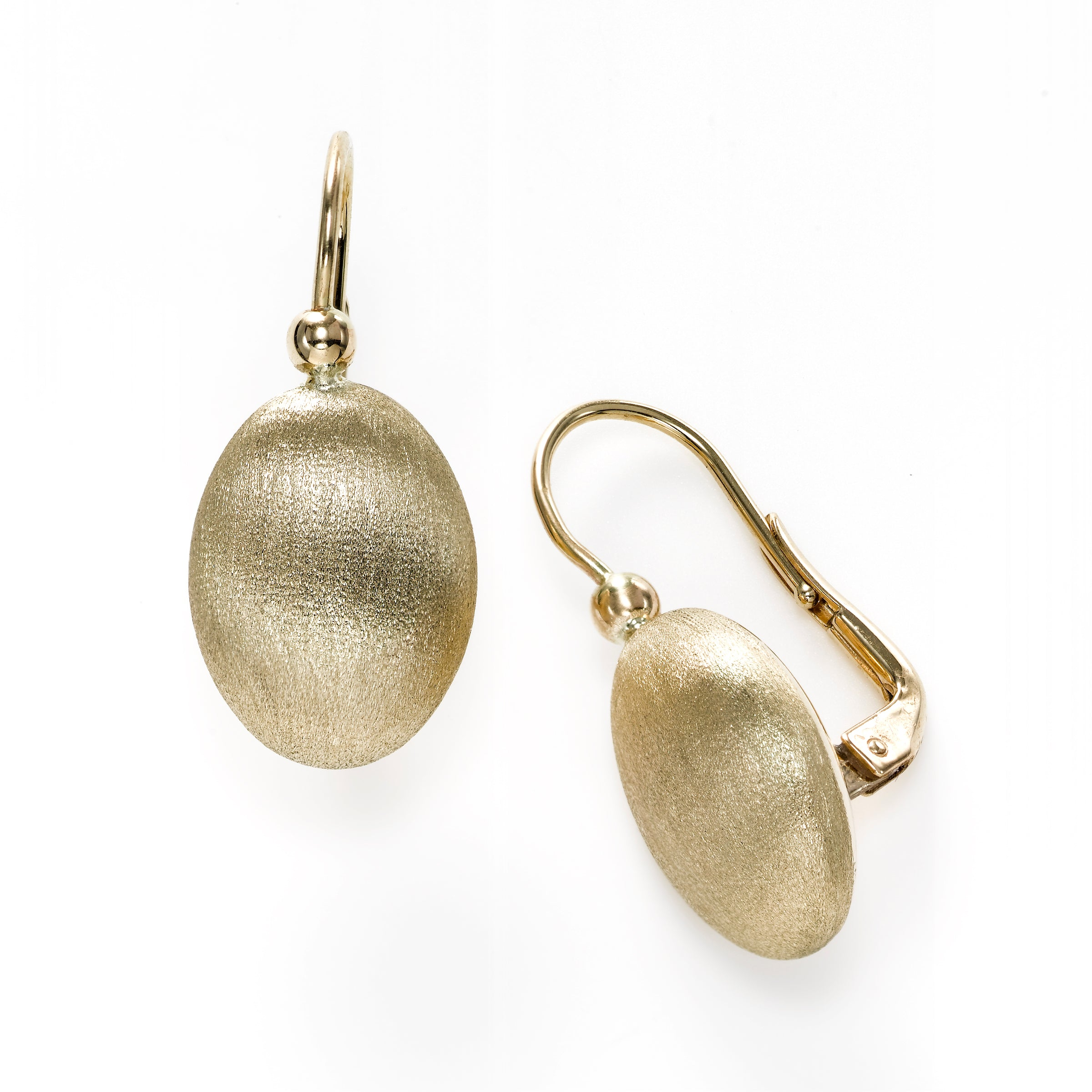 Oval Florentine Finish Leverback Earrings, 14K Yellow Gold
