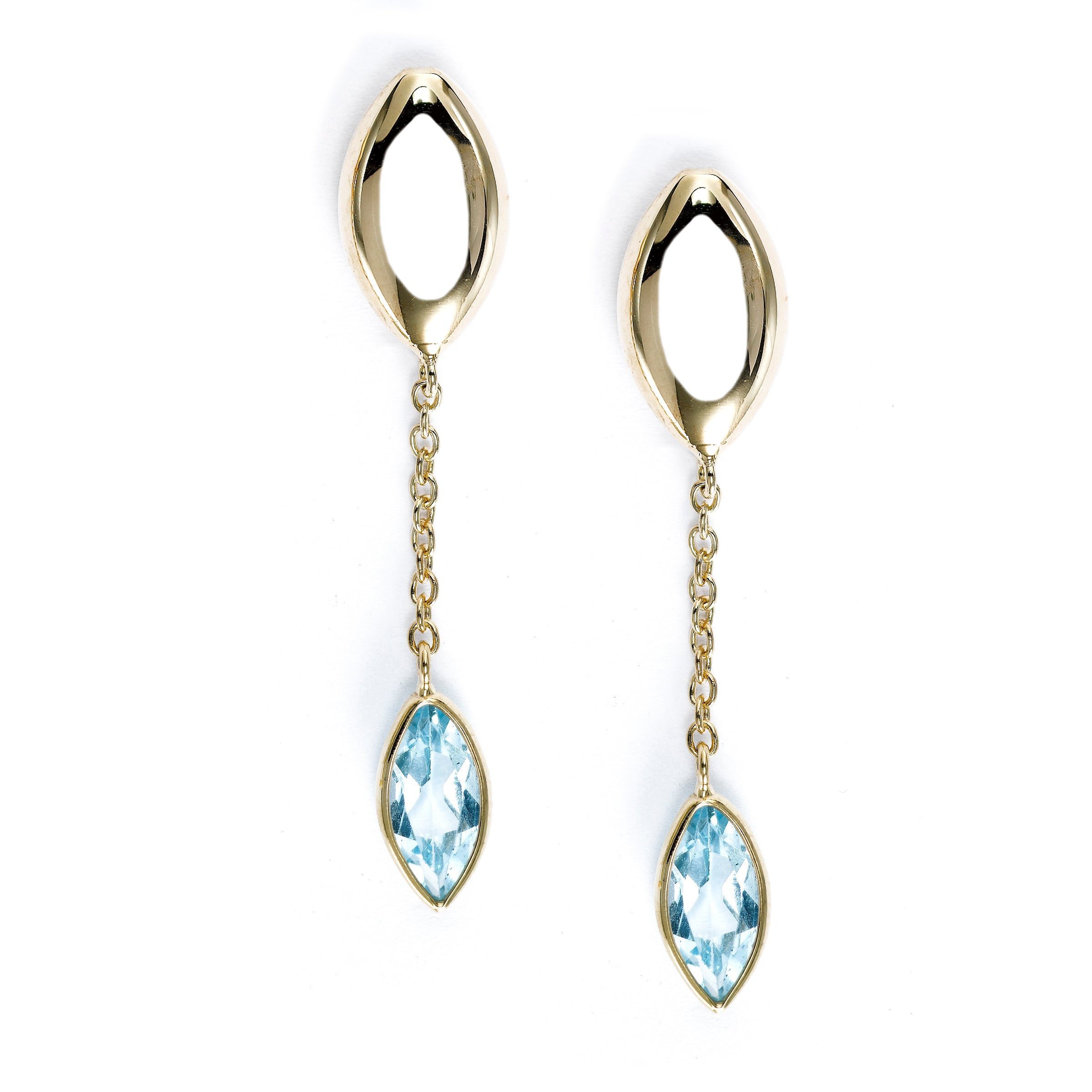 Blue Topaz Dangle Earrings, 14K Yellow Gold