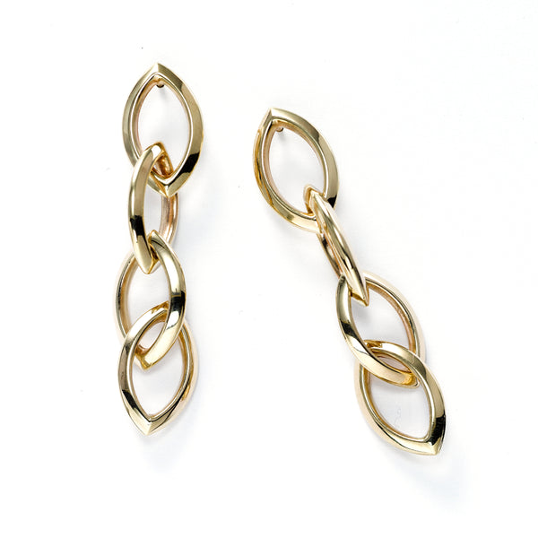 Four Link Dangle Earrings, 14K Yellow Gold