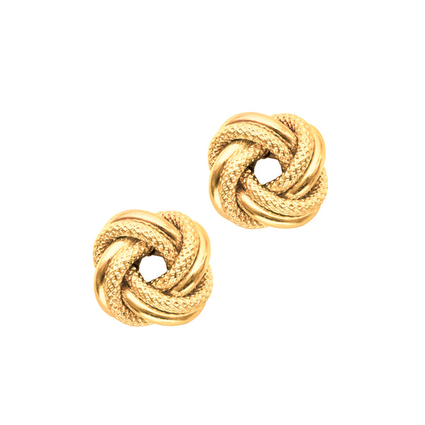 Textured Knot Earrings, 14K Yellow Gold