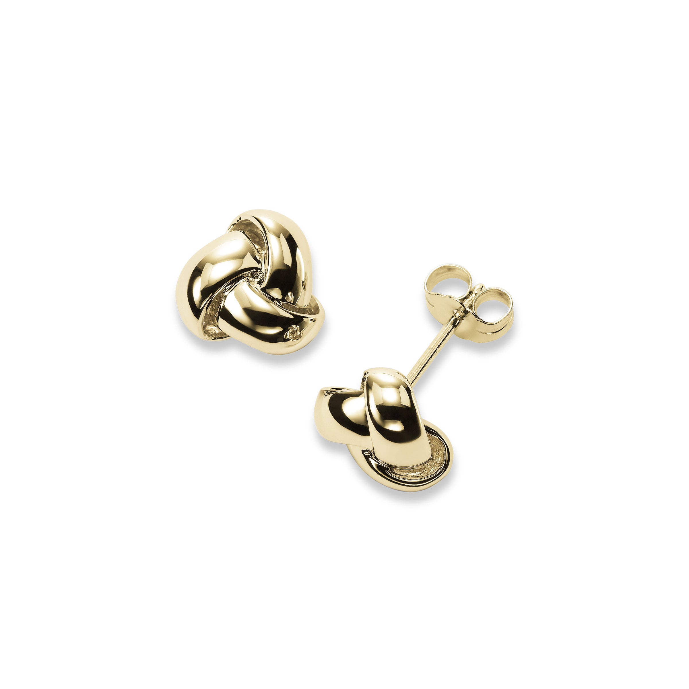 Shiny Knot Stud Earrings, 14K Yellow Gold