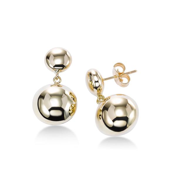 Double Ball Drop Earrings, 14K Yellow Gold