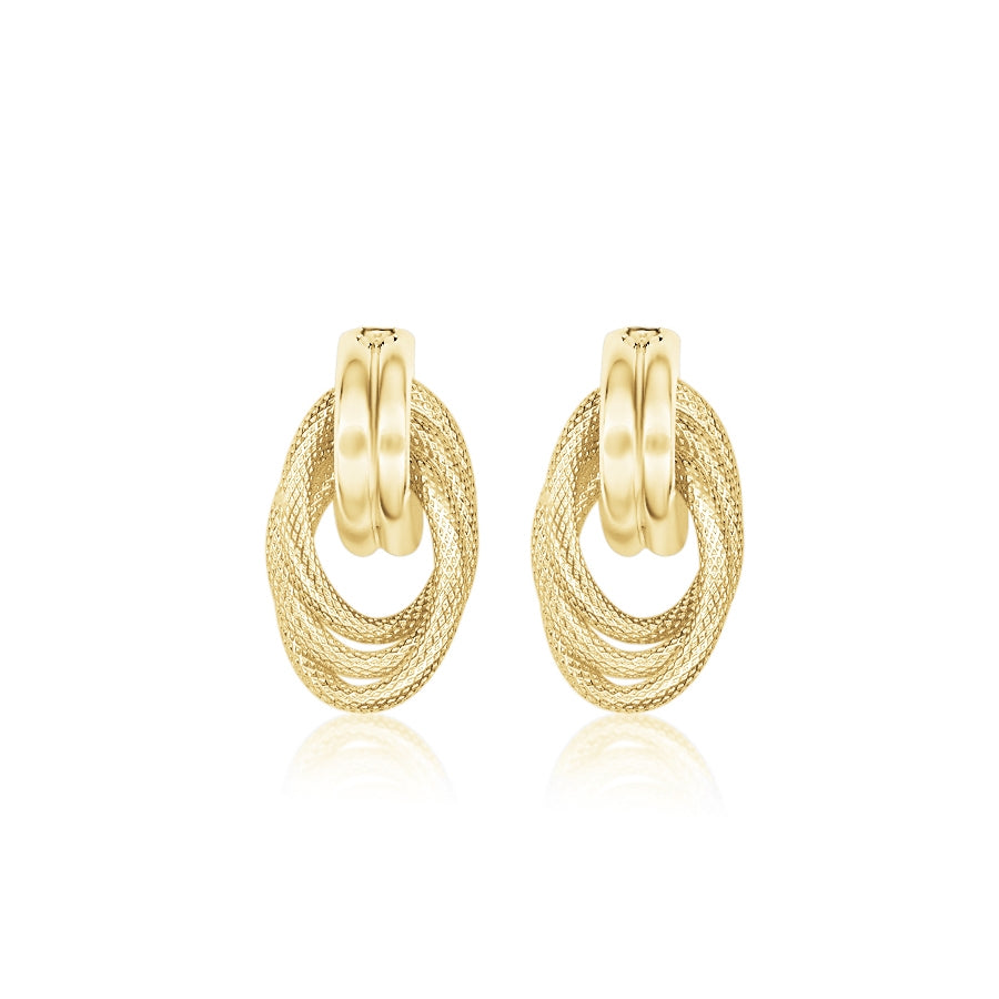 Textured Interlocking Ovals Drop Earrings, 14K Yellow Gold
