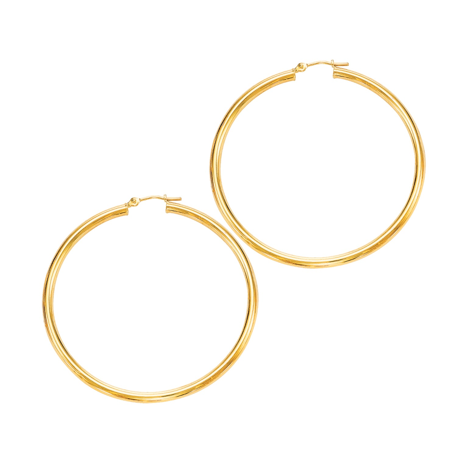 Large Shiny Tube Hoop Earrings, 2 Inches, 14K Yellow Gold