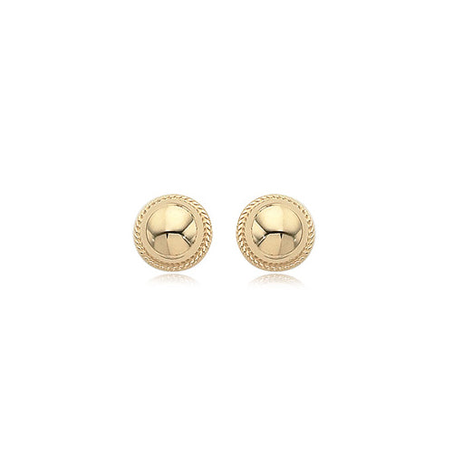 Domed Button Earrings with Rope Detail, 14K Yellow Gold