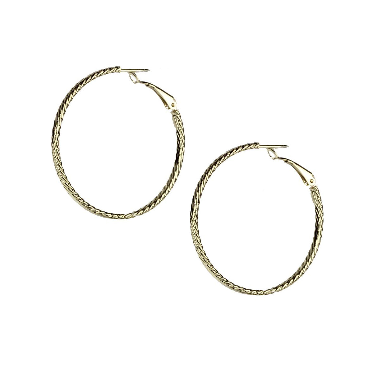 Twisted Hoop Earrings, 1.50 Inches, 14K Yellow Gold