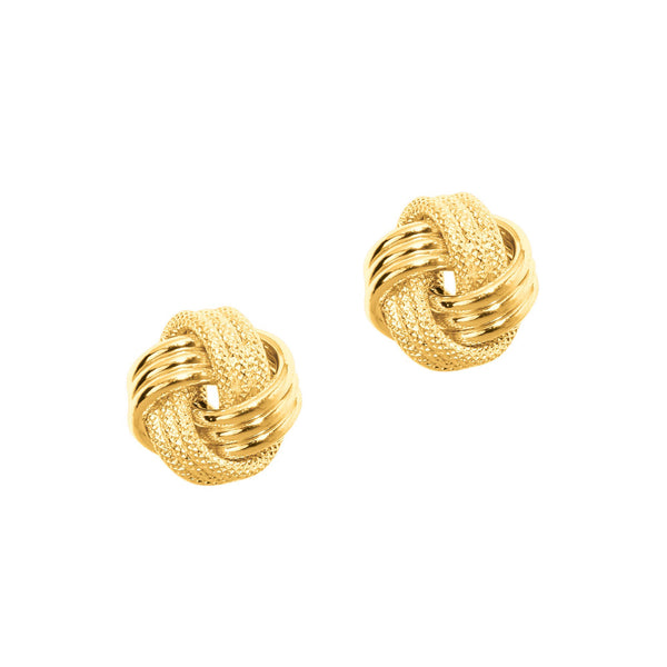 Polished and Textured Knot Earrings, 14K Yellow Gold