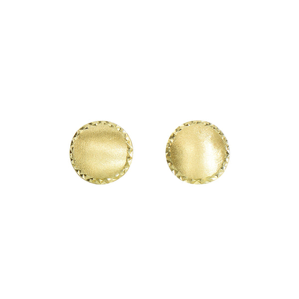 Framed Satin Button Earrings, 14K Yellow Gold