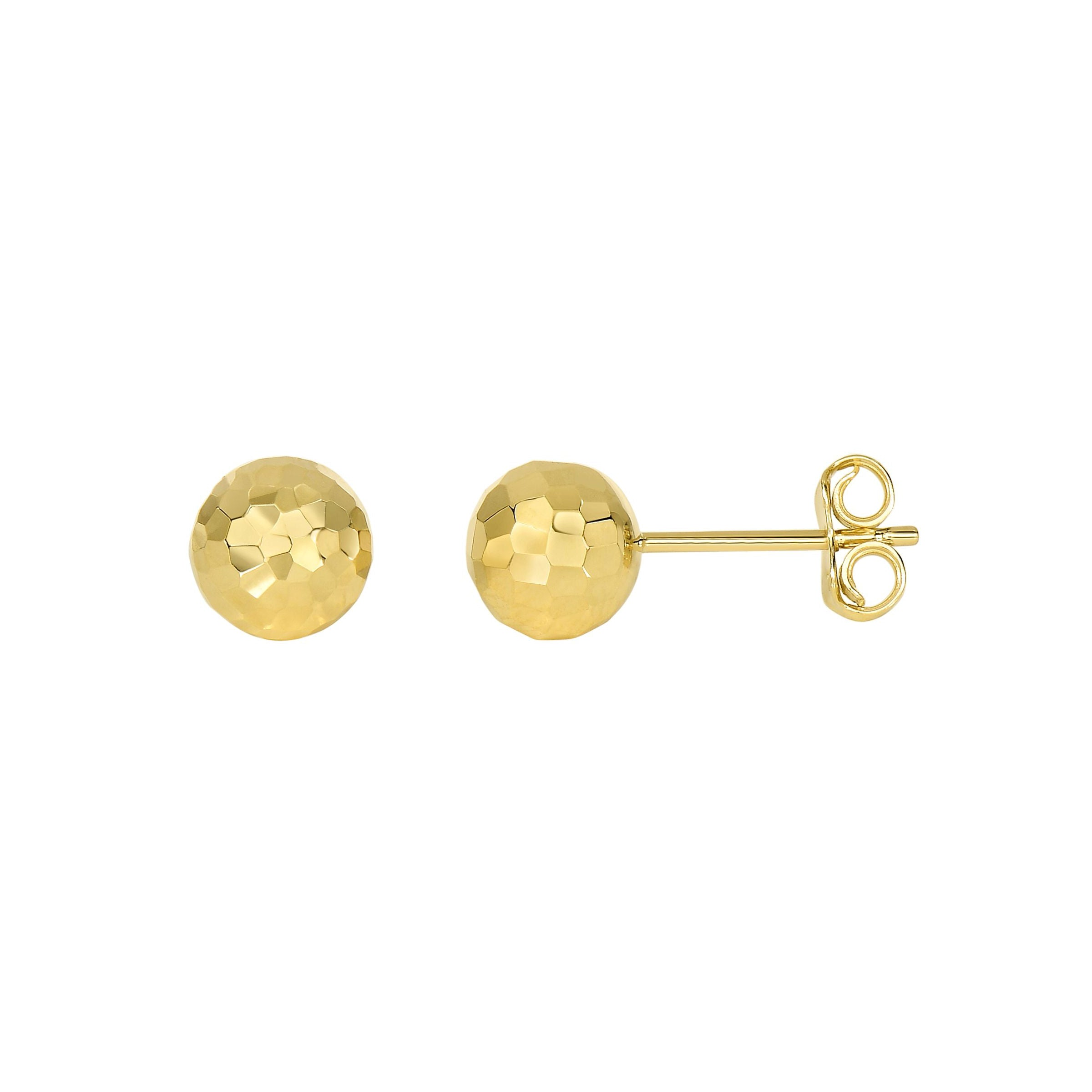Diamond Cut Ball Earrings, 14K Yellow Gold