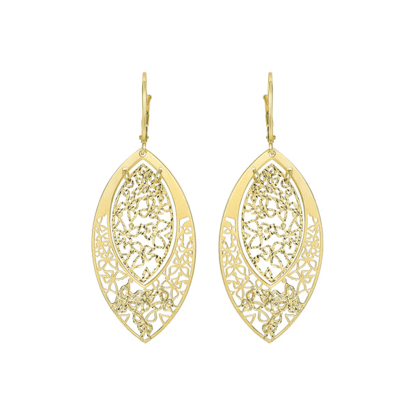 Marquise Shaped Filigree Dangle Earrings, 14K Yellow Gold