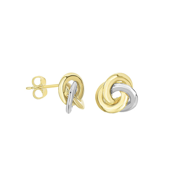 Polished Two Tone Knot Earrings, 14 Karat Gold