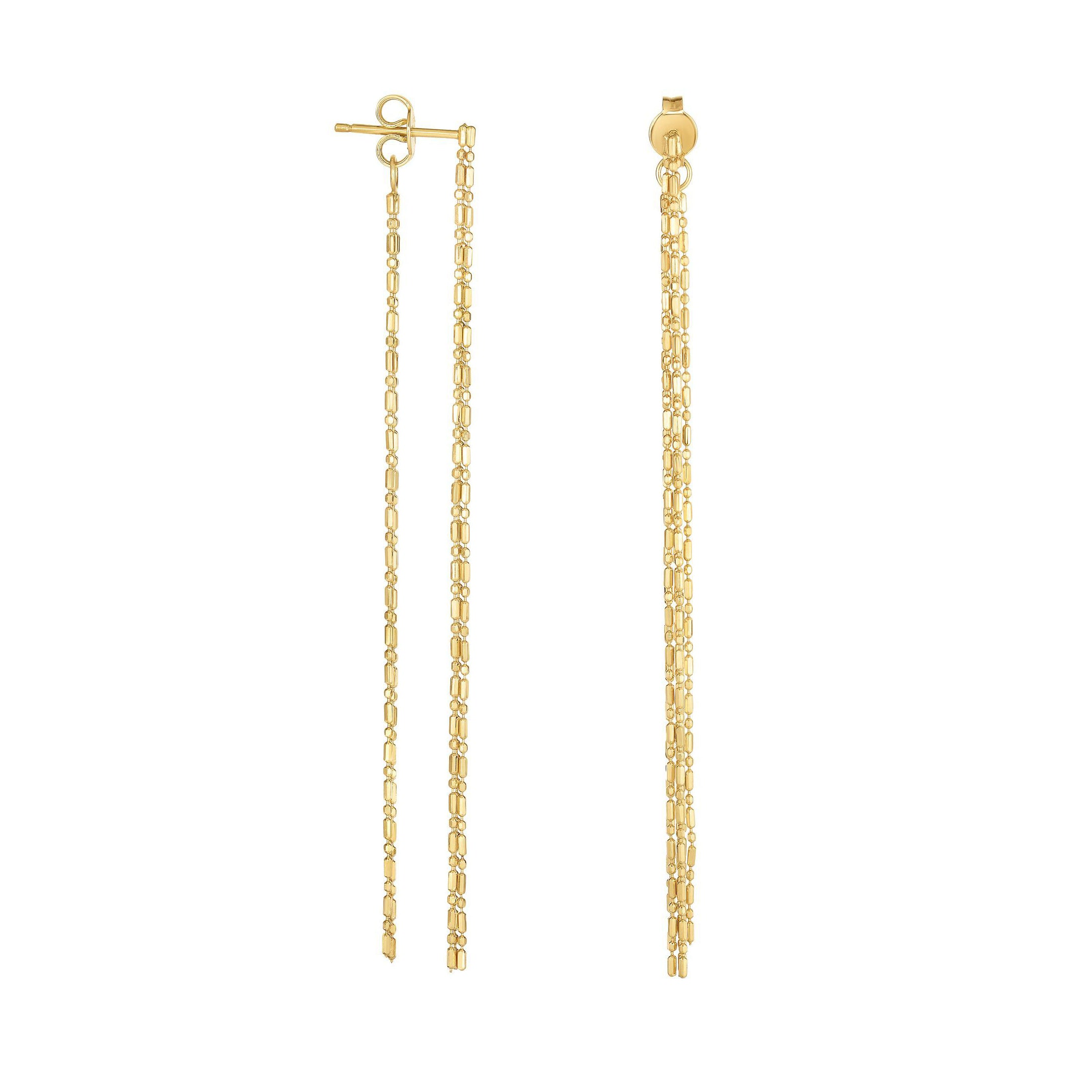 Front and Back Chain Drop Earrings, 14K Yellow Gold
