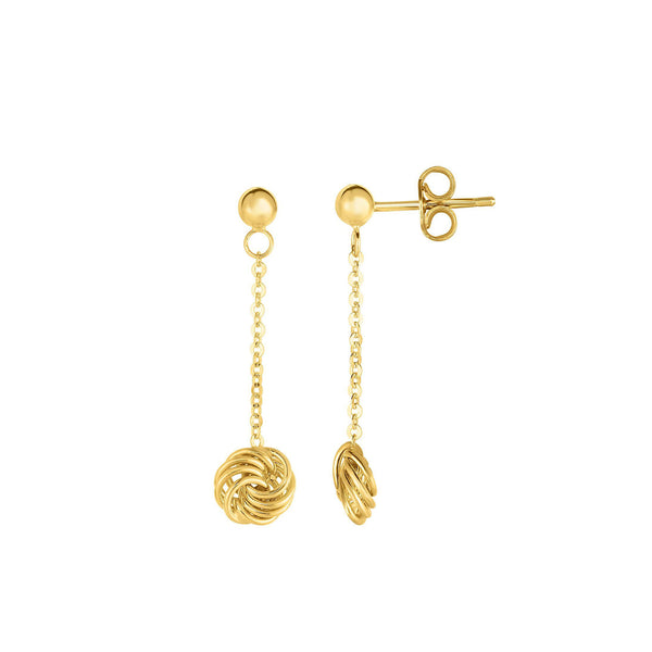 Dangling Love Knot Gold Chain Earrings, 14K Yellow Gold