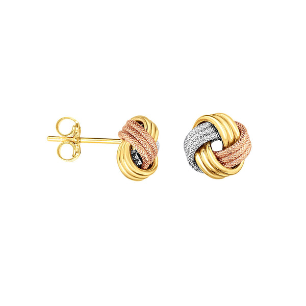 Textured Tricolor Knot Earrings, 14 Karat Gold