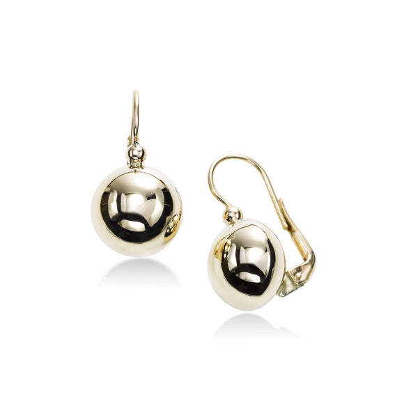 Leverwire Ball Earrings, 14K Yellow Gold