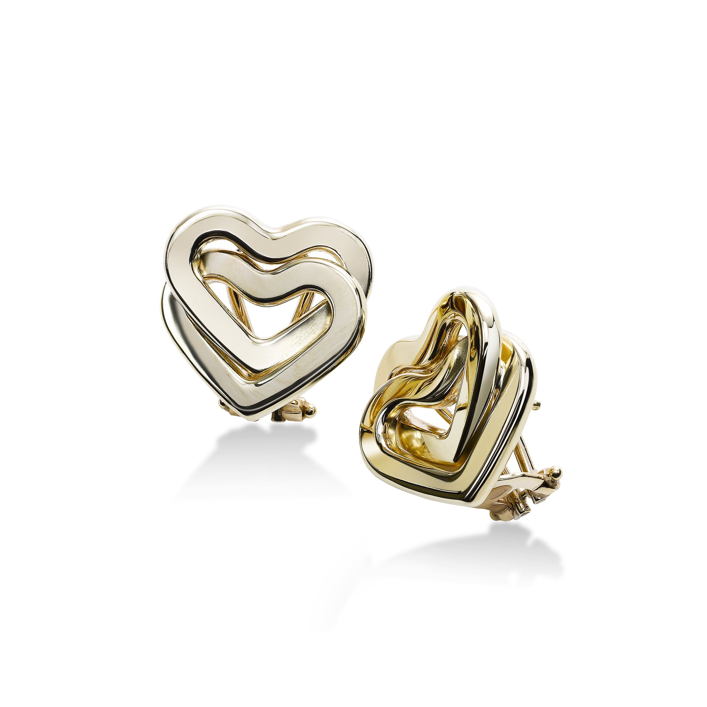 Interlocking Hearts Earrings, 14K Yellow Gold