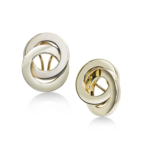 Large Interlocking Circles Earrings, 14K Yellow Gold