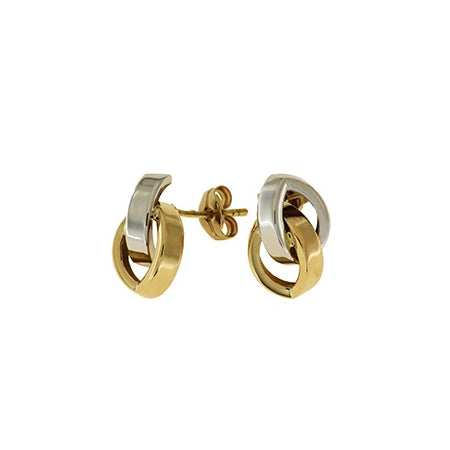 Two Tone Interlocking Loops Earrings, 18 Karat Gold