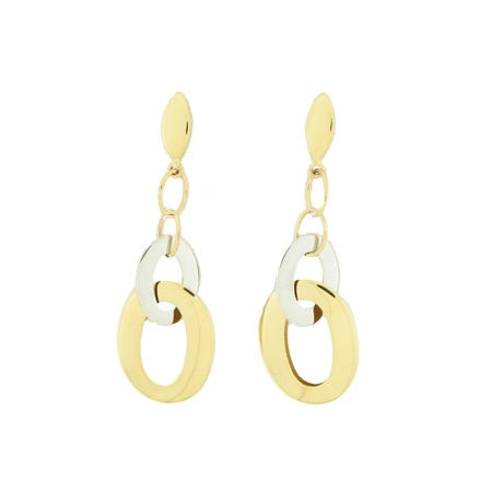 Two Tone Oval Loop Dangle Earrings, 18 Karat Gold