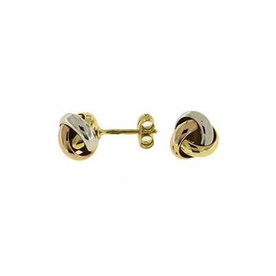 Shiny Tricolor Gold Knot Earrings, 18 Karat Gold
