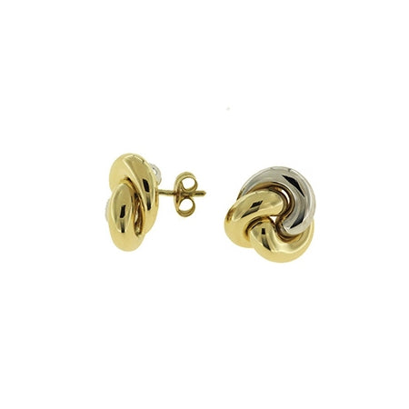Shiny Two Tone Gold Knot Earrings, 18 Karat Gold