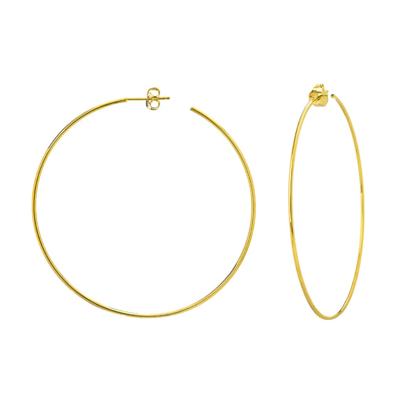 Large Open Hoop Earrings, 2.40 Inches, 14K Yellow Gold