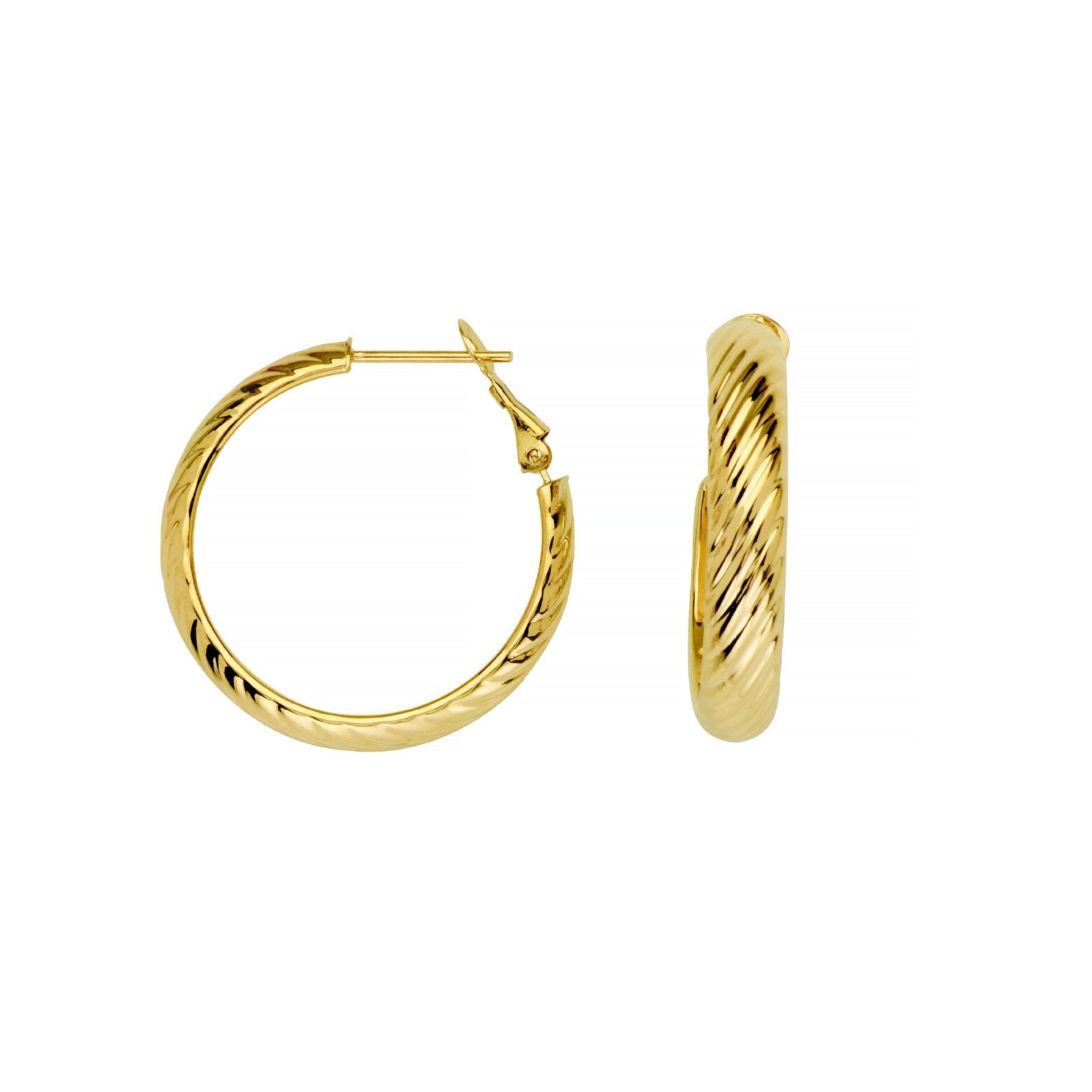 Shiny Ribbed Hoop Earrings, .75 Inch, 14K Yellow Gold