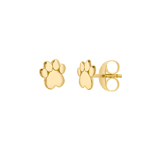 Cat Dog Paw Print Stud Earrings, 14K Yellow Gold