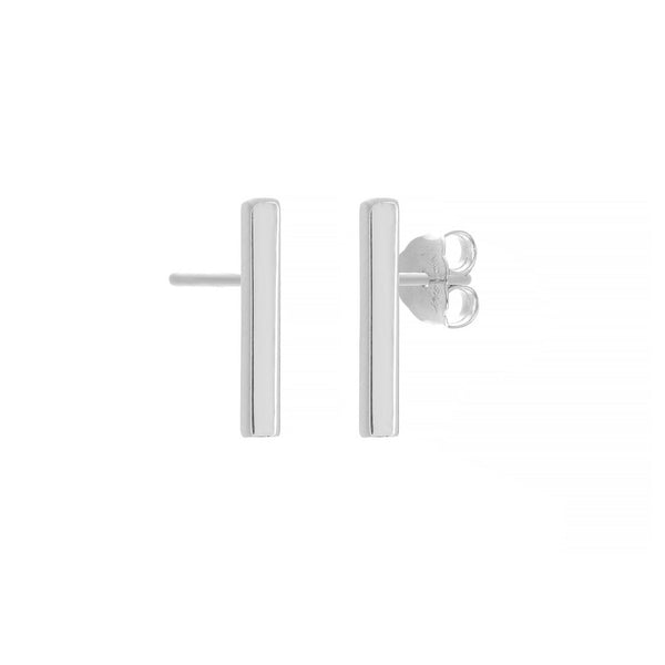 Small Staple Stud Earrings, 14K White Gold