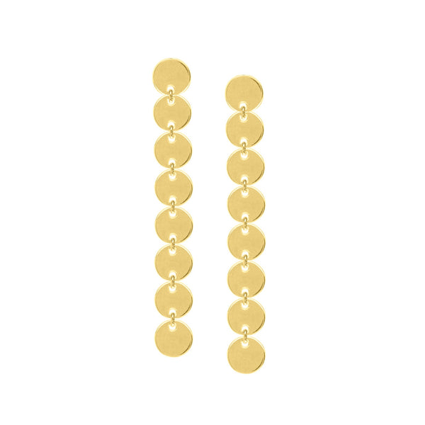 Linked Discs Dangle Earrings, 14K Yellow Gold